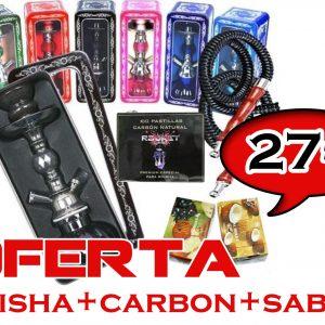 SHISHA DUTCH PUMPKIN 29 CM CON CAJA Y 2 SALIDAS +CARBON Y MELAZAS
